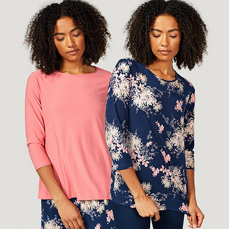 Antthony Designs 3/4 Sleeve Metallic Print And Solid 2 Pack of Tops