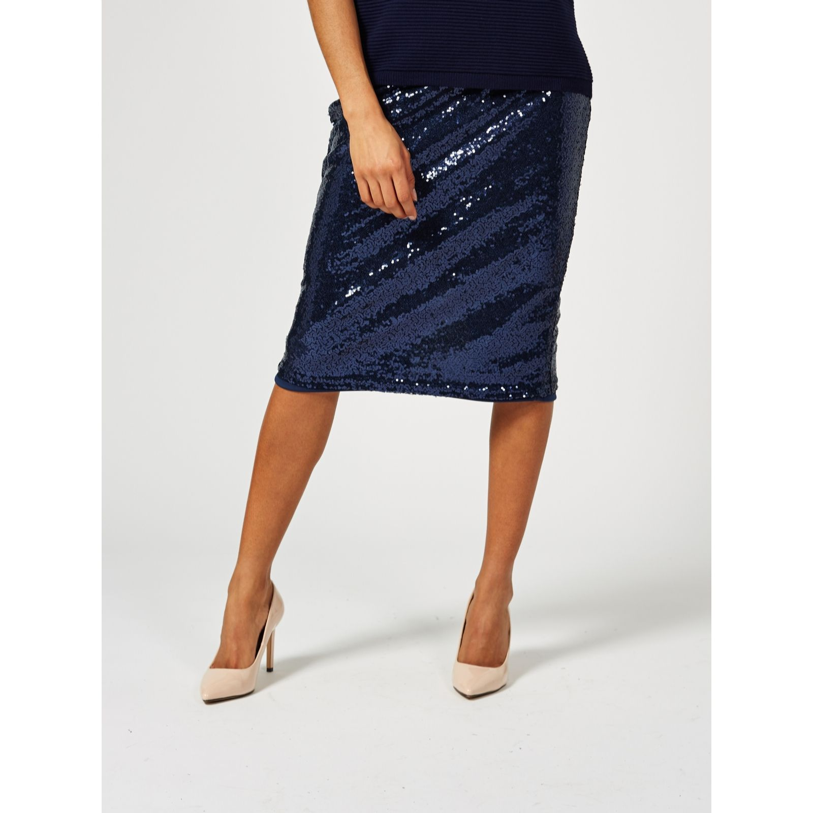 90e60381b8 Ben de Lisi Sequin Pencil Skirt - QVC UK