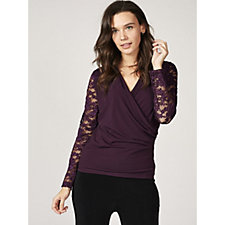 Together Faux Wrap Top with Lace Sleeves & Shoulders