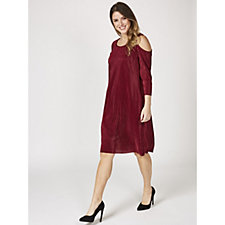 3/4 Sleeve Cold Shoulder Pleat Dress by Nina Leonard