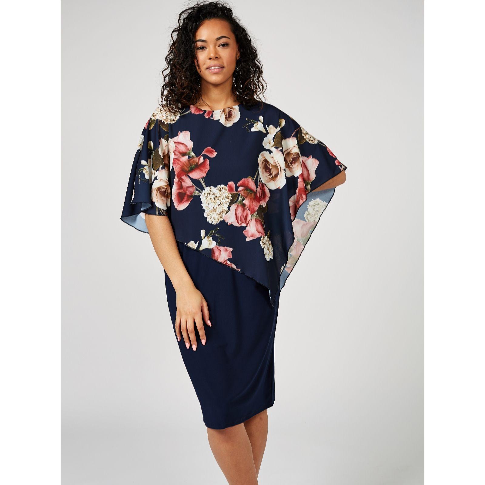 897752f3ff490 Grace Floral Chiffon Overlay Dress - QVC UK