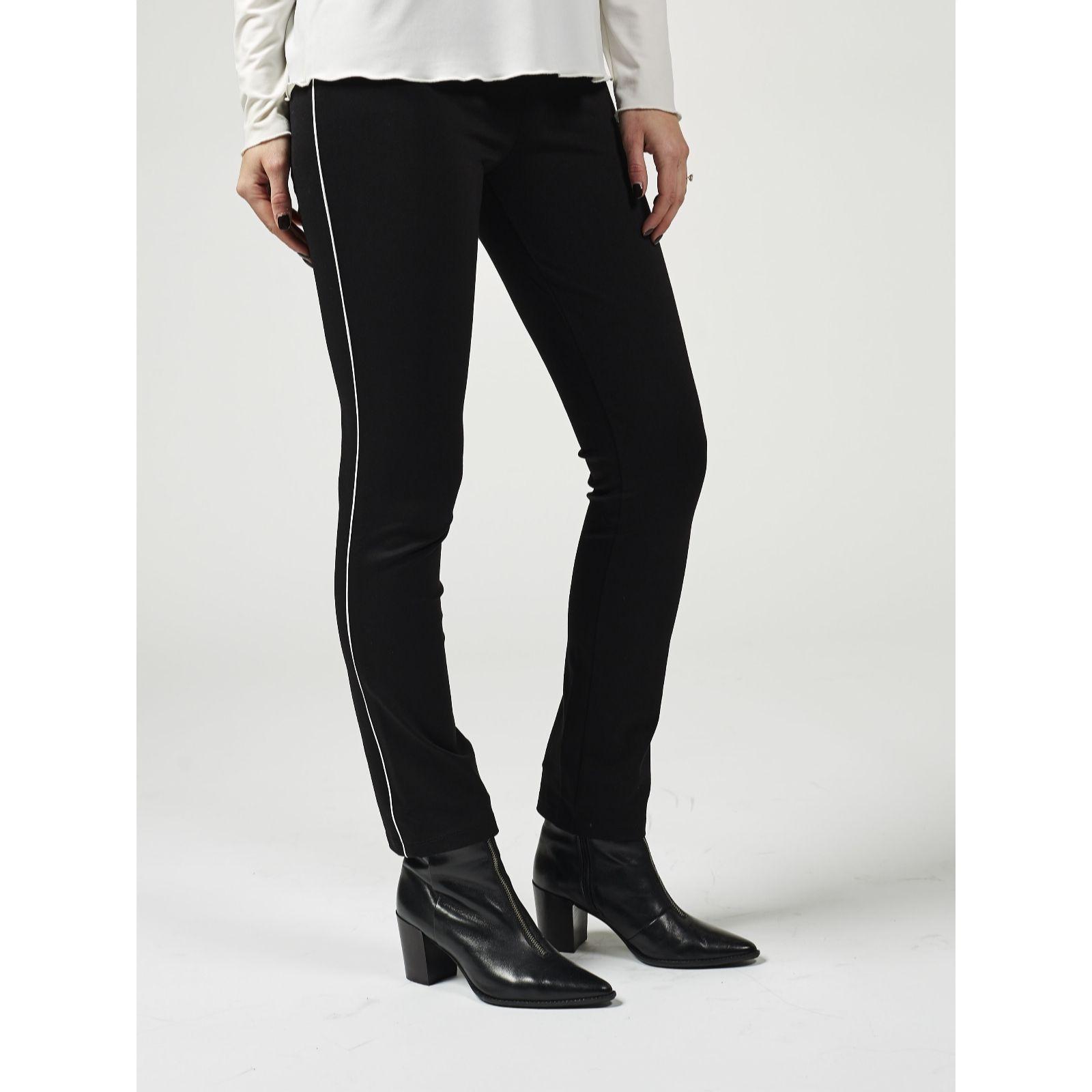 KüHn Ladies M & S Navy Polyester Trousers Size 8 Medium Wide Pinstripe In Material Hosen Kleidung & Accessoires