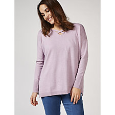 H by Halston Easy Pullover with Neckline Detail