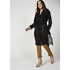 WynneLayers Mixed Media Long Line Trench Coat