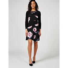 Grace Long Sleeve Lace Neck Detail Dress