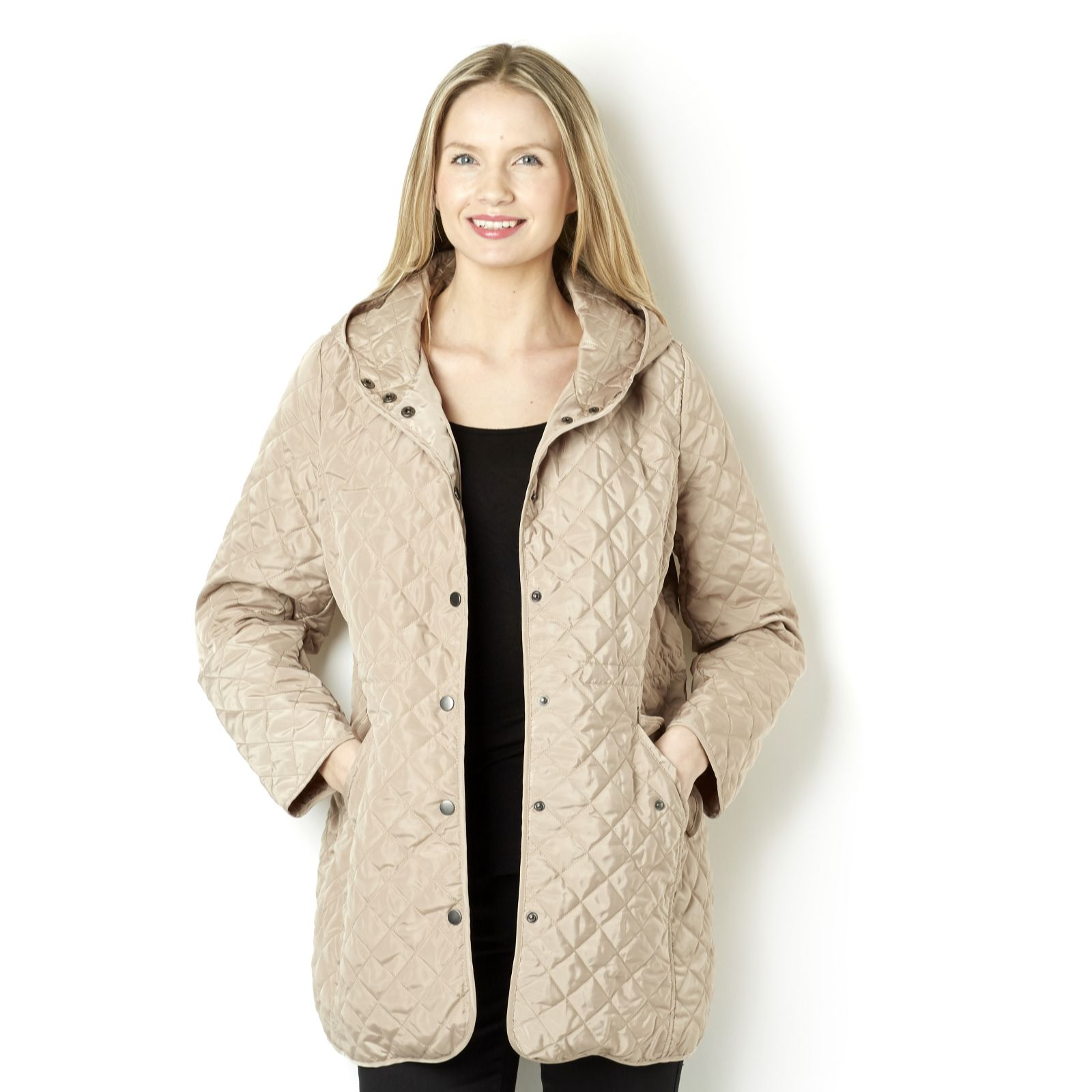 8479531a Centigrade Quilted Coat with Hood & Front Poppers - Page 1 - QVC UK