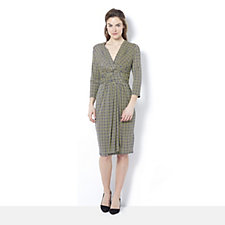Pitot 3/4 Sleeve Square Print Dress by Onjenu London