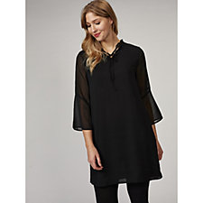 Together Ruffle Neck Wide Sleeve Dress
