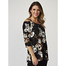Kim & Co Floral Masterpiece Brushed Venechia Cold Shoulder Tunic