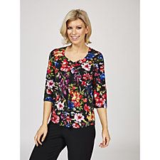 Kim & Co Printed Brazil Knit Ruched Neck 3/4 Sleeve Top