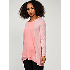 H by Halston Soft Knit Chiffon Front Long Sleeve Tunic
