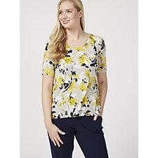 Kim & Co Printed Brazil Knit Short Sleeve Hi Low Top