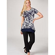 Short Sleeve Tunic with Chiffon Hem & Front Pockets by Nina Leonard