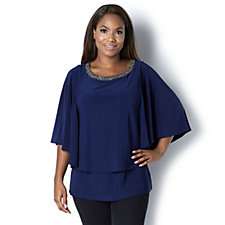 Together Cape Style Top with Beaded Neckline