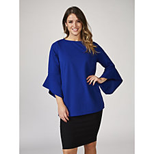 Ruth Langsford Round Neck Crepe Tunic with Fluted Sleeve