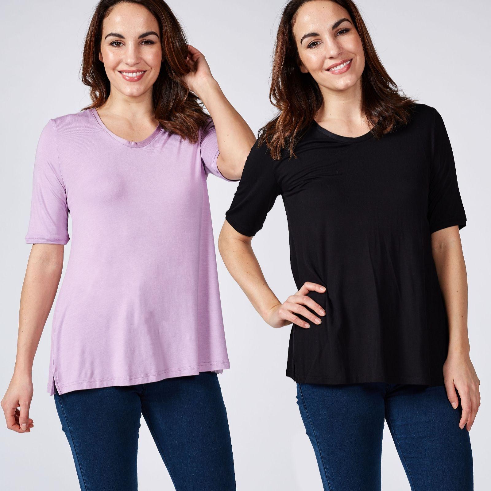 aea15d036e2 H by Halston Essentials Elbow Sleeve U Neck T Shirt 2 Pack - QVC UK