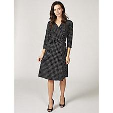 Grace 3/4 Sleeve Mock Wrap Dress