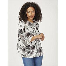 Denim & Co. 3/4 Sleeve Printed Blouse