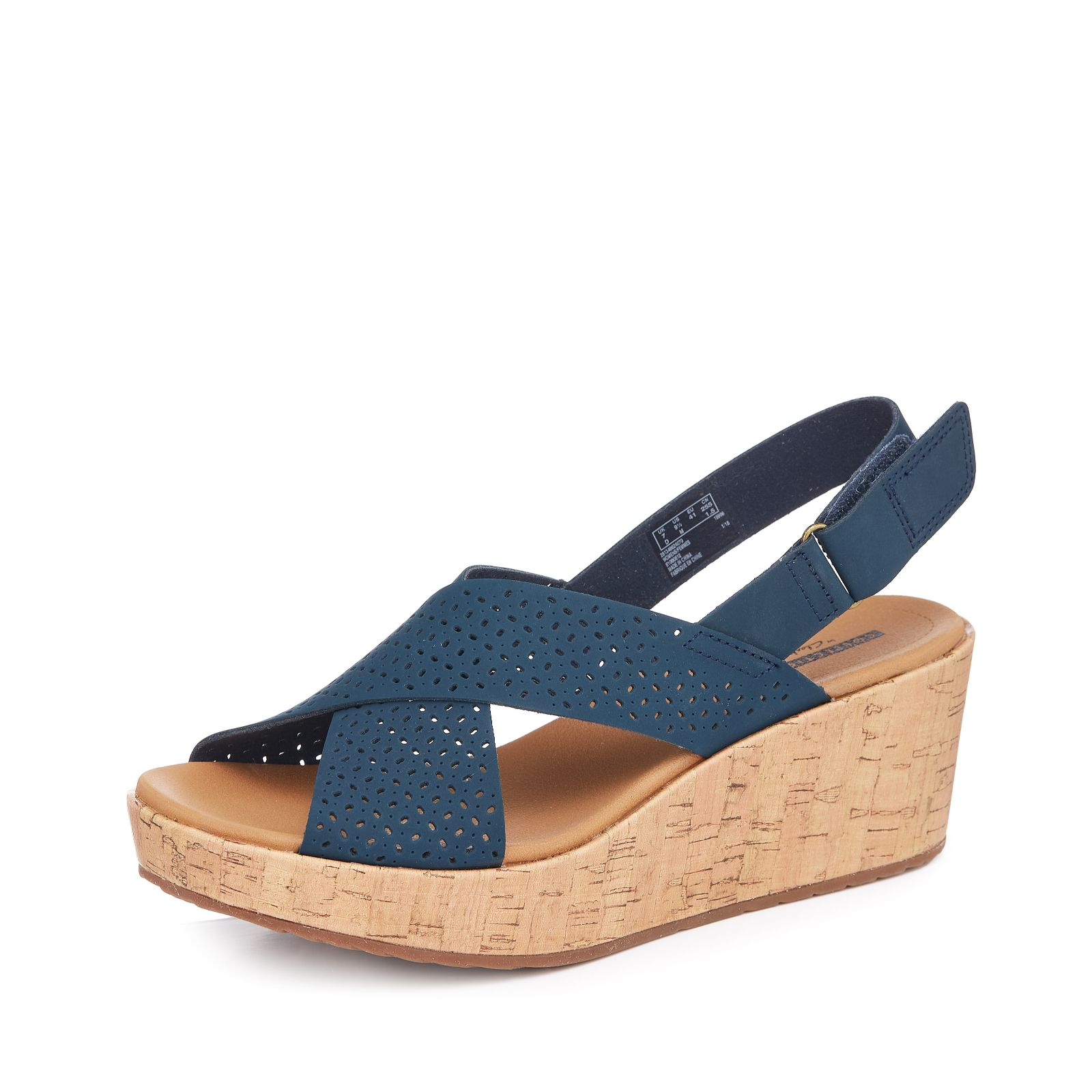 e945f345249 Clarks Laser Cut Leather Wedge Sandal Standard Fit - QVC UK