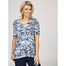 Kim & Co Brazil Knit Short Sleeve Back Pleat V Neck Tunic