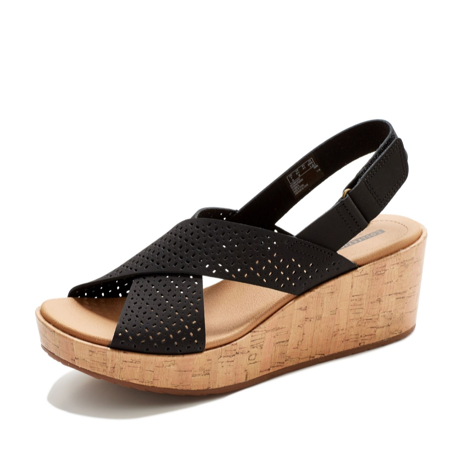 3c7295e13744 Clarks Laser Cut Leather Wedge Sandal Wide Fit - QVC UK