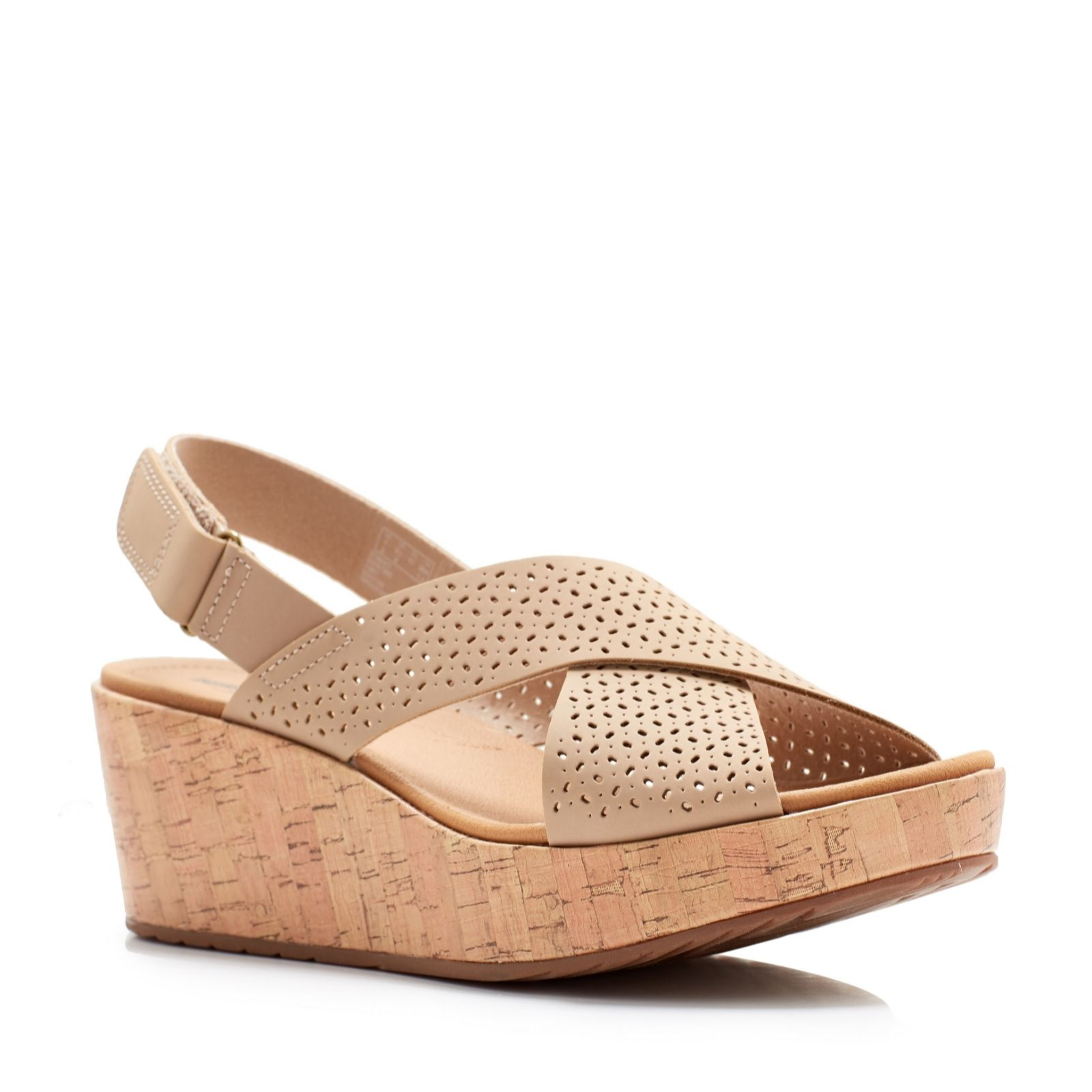 e59f4049f902 Clarks Laser Cut Leather Wedge Sandal Wide Fit - QVC UK