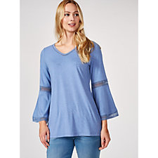 Isaac Mizrahi Live Bell Sleeve Tunic with Hi Lo Hem & Lace Trim Detail