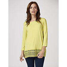 Antthony Designs 3/4 Sleeve Top with Lace Trim Detail