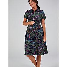 Denim & Co. Printed Midi Shirt Dress