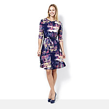 Fit & Flare Printed Dress with Solid Panel Sides by Nina Leonard