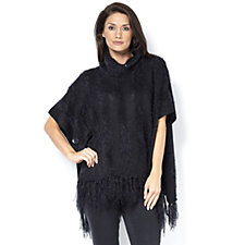 Marble Cowl Neck Poncho with Contrast Stripe and Fringe Detail