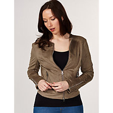Rino & Pelle Faux Suede Perforated Bomber Jacket