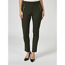 175013 - Kim & Co Ponte Crepe Jersey Zip Detail Skinny Petite Trousers