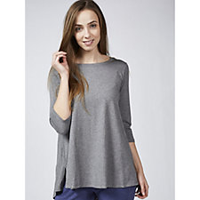 Anybody 3/4 Flared Sleeves Curved Hi Low Hem Swing T-Shirt