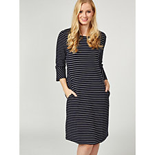Together Striped Fluted Sleeve Dress