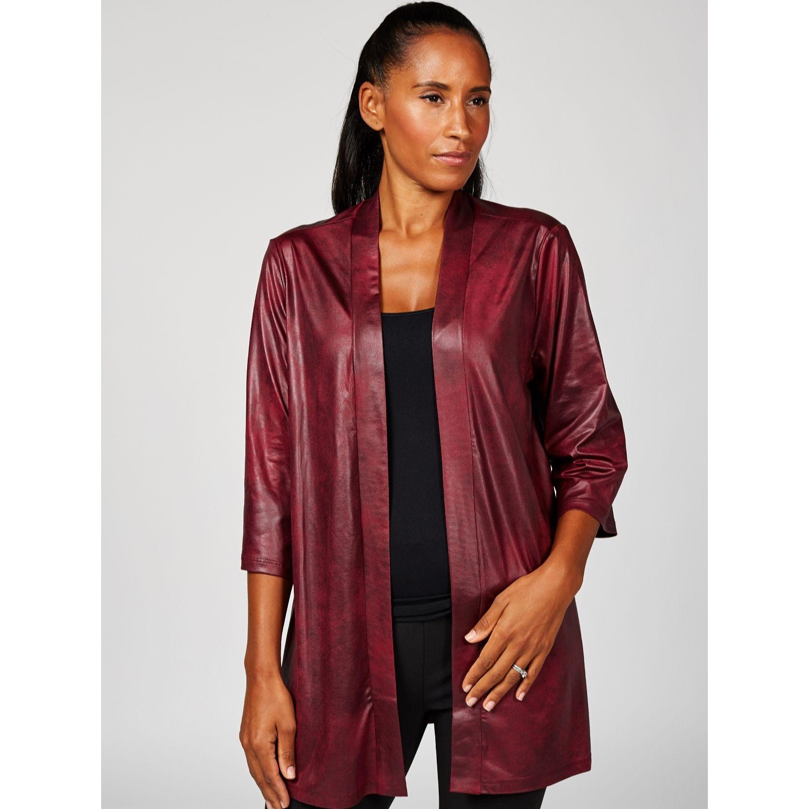 190f094f05a Kim   Co Brazil Jersey 3 4 Sleeve Pleather Kimono Cardigan - QVC UK