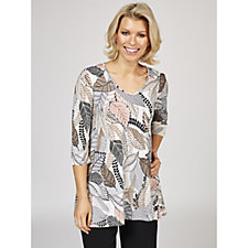 Kim & Co Leaf Collage Textured Venechia 3/4 Sleeve V Neck Tunic