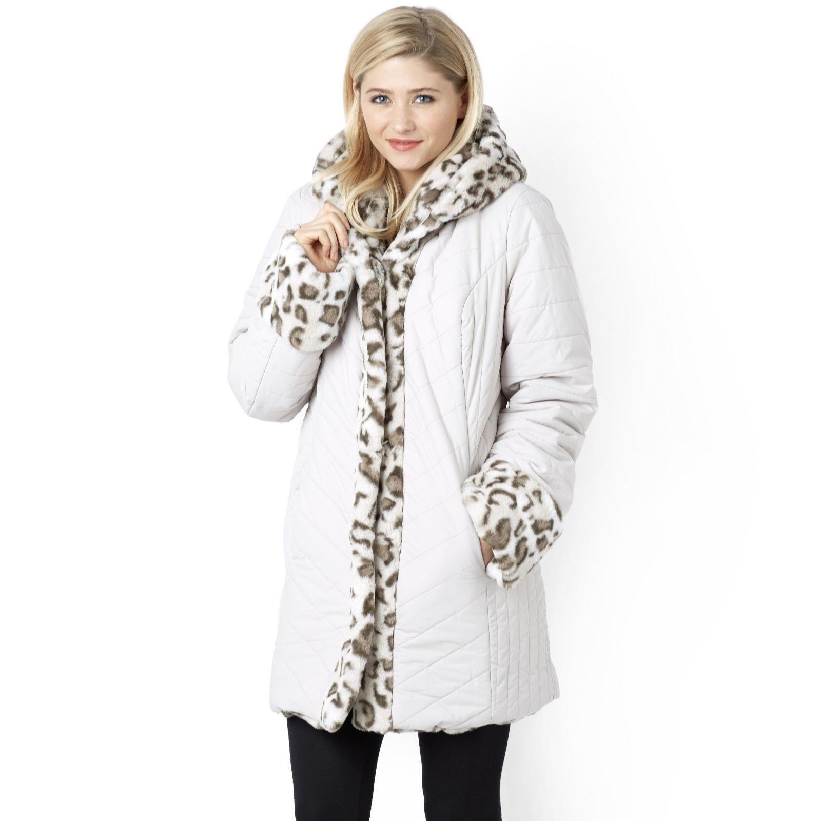 0cfdd8cb2f843 Dennis Basso Reversible Faux Fur Hooded Puffer Coat - Page 1 - QVC UK