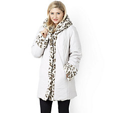 Dennis Basso Reversible Faux Fur Hooded Puffer Coat
