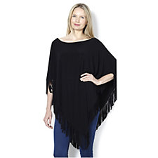 Attitudes by Renee Jersey Fringe Poncho