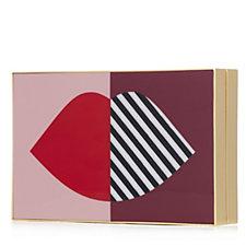 Lulu Guinness Olivia Perspex 50:50 Stripe Lip Clutch