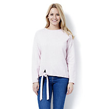 Marble Tie Front Long Sleeve Fitted Jumper