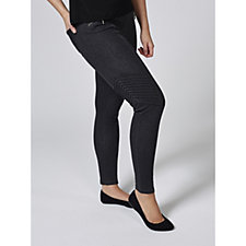 H by Halston Studio 61 Knit Pull On Denim Ankle Biker Trousers Regular