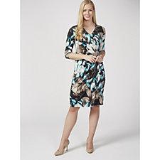 Kim & Co Marble Leaf Venechia 3/4 Sleeve Faux Wrap Dress