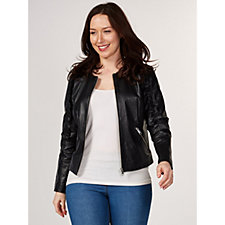 Rino & Pelle Leather Jacket with Frill Detail