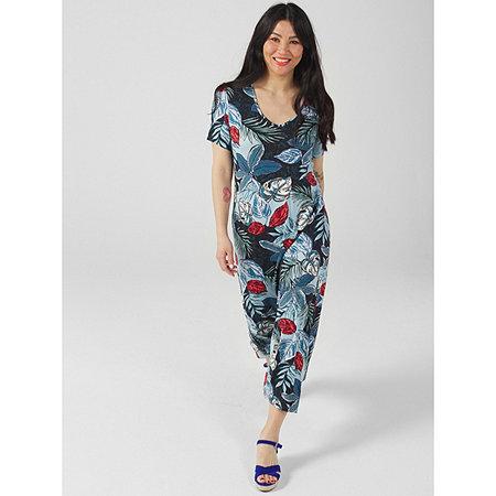Kim & Co Printed Viscose Short Sleeve Curved Hem Midi Dress
