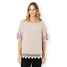 Together Crinkled Woven Lace Detail Top