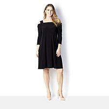 3/4 Sleeve Cold Shoulder Dress by Nina Leonard