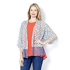 Outlet LOGO by Lori Goldstein Jersey Kimono with Print Chiffon
