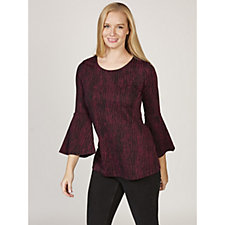 H by Halston Knit Jacquard Bell Sleeve Tunic Top